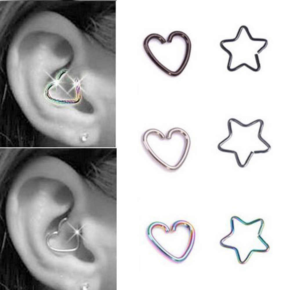 cd98f4a3d TIANCIFBYJS Steel 16g Body Jewelry Star Heart Tragus Earring Cartilage Ear  Studs Cute Helix Barbell Piercing