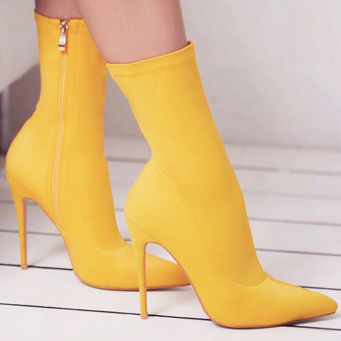 New Arrival Autumn Elastic Fabric Mid calf Boots Red Yellow Black Pointed  Toe Graceful Middle Boots Thin High Heel Dress Pumps-in Ankle Boots from  Shoes on ... f238bcfe9