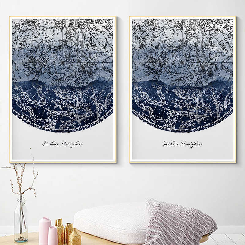 Northern & Southern Hemisphere Wall Art Canvas Painting Celestial Star Chart Constellations Astronomy Posters Prints Home Decor