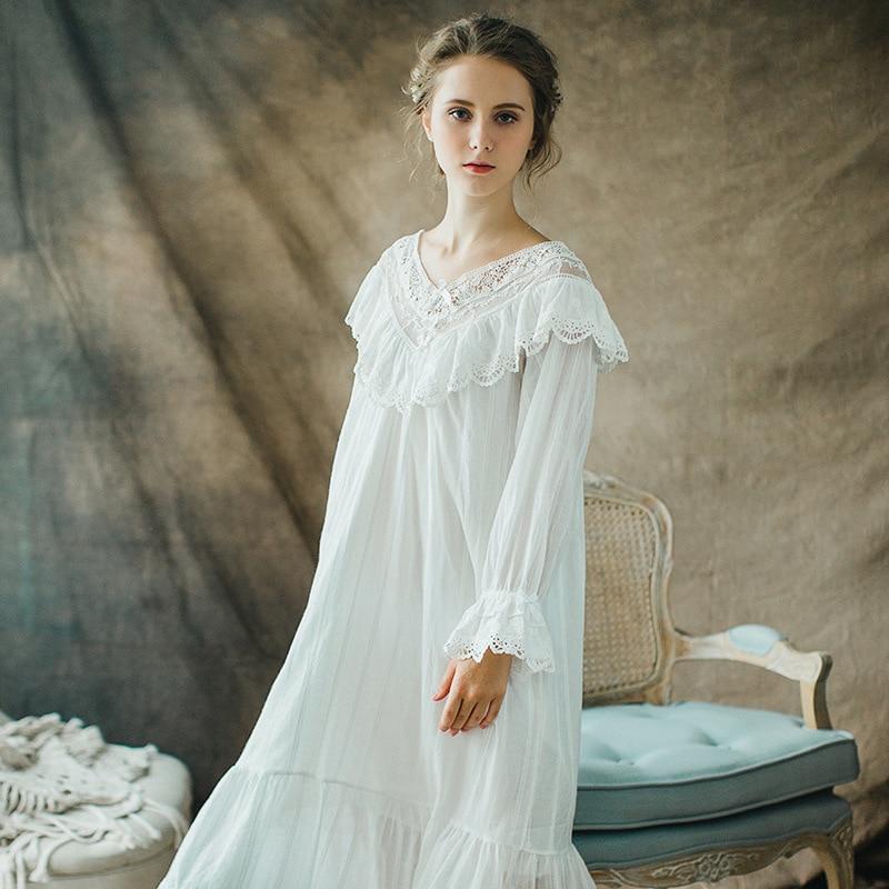 Qlx Ladies Long Victorian Style White Cotton Lace