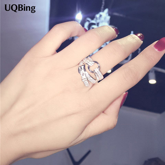 Free Shipping 925 Sterling Silver Belt Buckle Crystal Ring Wedding Brand Ring Je