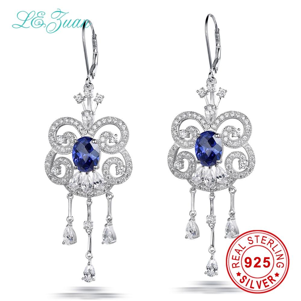 L&zuan 925 Sterling Silver Drop Long Tassel Earrings 5.17ct Blue Stone Romantic Luxury Earrings Fine jewelry For Women все цены