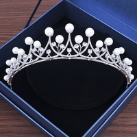 Princess Bridal Wedding Headband Tiara AAA Clear Cubic Zirconia Crown Hair Jewelry Simulated Pearls Bride Wedding Headpiece Gift