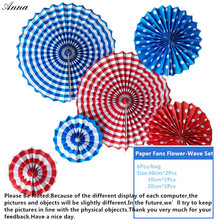6pcs/lot bule Cheap Paper Fans For Wedding Tissue Paper Fans Flowers Birthday Party Holiday