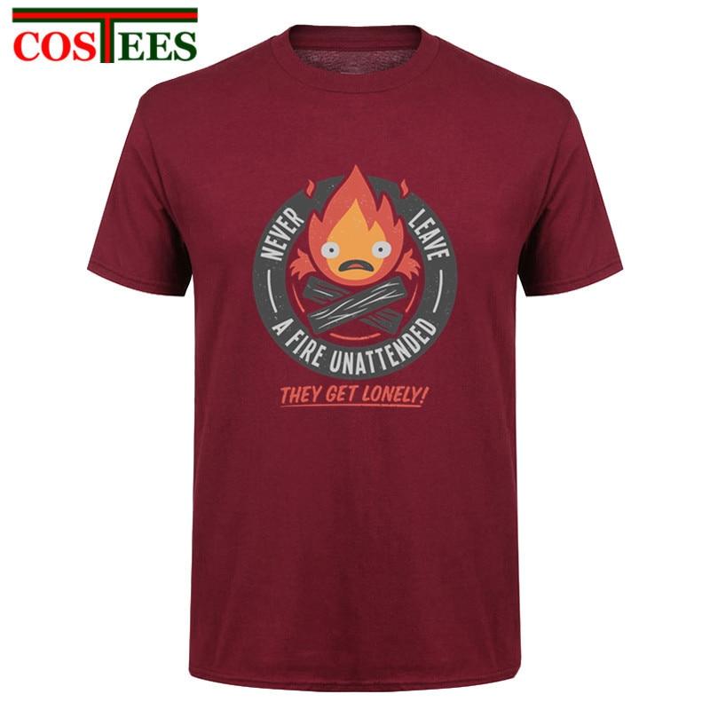 Lonely Fire Demon T shirt Calcifer Howls Moving Castle Studio Ghibli T-shirt men casual Tee shirt harajuku Tops tshirt camiseta