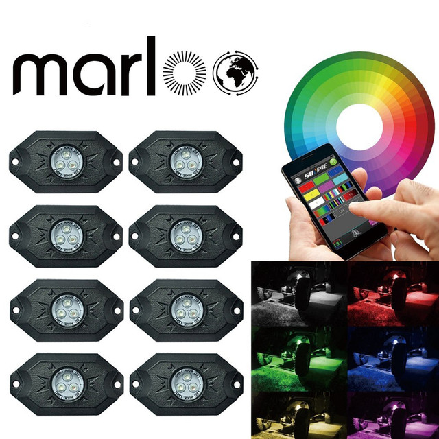 Marloo New Under Car Light 8pods 9W RGB led rock light with Bluetooth Control For Jeep 4x4 Off road ATV