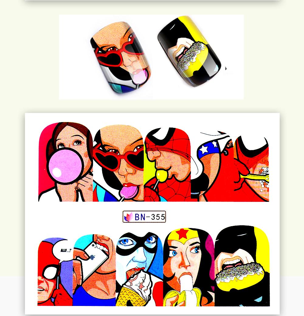 1 Sheet 17 New Nail Fashion Sticker Full Cover Lips Cute Printing Water Transfer Tips Nail Art Decorations 6
