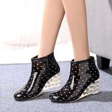 Новинка 2017 года Высокий каблук резиновые сапоги с кристаллом цвета heelbota feminina; короткие непромокаемые сапоги для женщин высокий каблук галоши непромокаемые сапоги