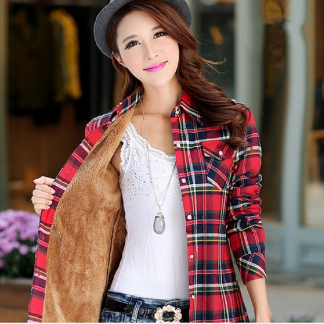 08deb6d5664 Office Ladies Tops Street Fashion Plaid Flannel Shirt Autumn Winter Long  Sleeve Thick Warm Plus Size Women New Hot Cotton Blouse
