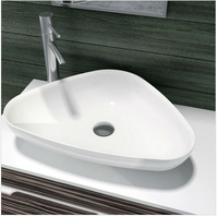 Free Shipping Triangular bathroom solid surface stone counter top sink fashionable wash basin RS38206