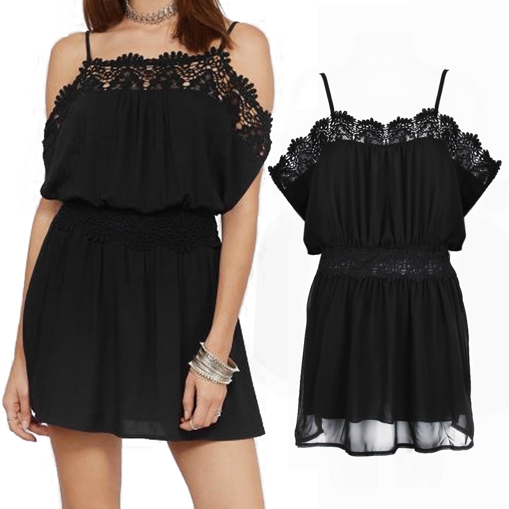 EA14 Summer Black Lace Swim Dress Spaghetti Strap Off Shoulder Loose Waist Chiffon Beach Dress Cover