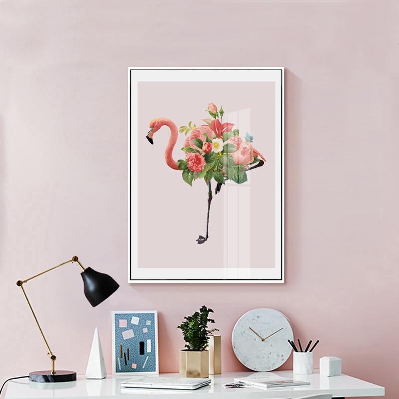 Çiçəkli Flamingo Geyinmə Masa Kətan İncəsənət Çap afişası - Ev dekoru - Fotoqrafiya 2