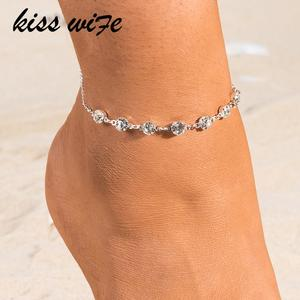 Crystal Anklets Chain-Bracelet Shoe-Boot Link Foot-Jewelry Gold Silver-Color Vintage