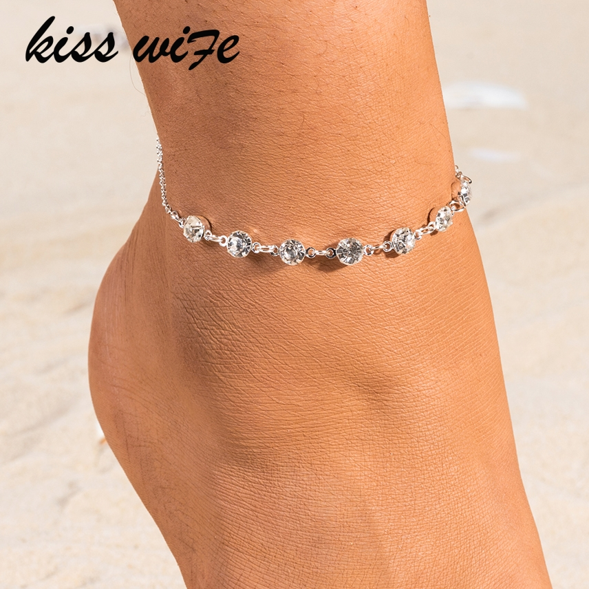 KISSWIFE Vintage Fashion Crystal Anklets For Women Link Chin Bohemian Gold Silver Color Shoe Boot Chain Bracelet Foot Jewelry