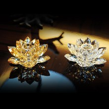 Top quality glass lotus Crystal candle holders centros de mesa para boda gold home decor wedding centerpieces