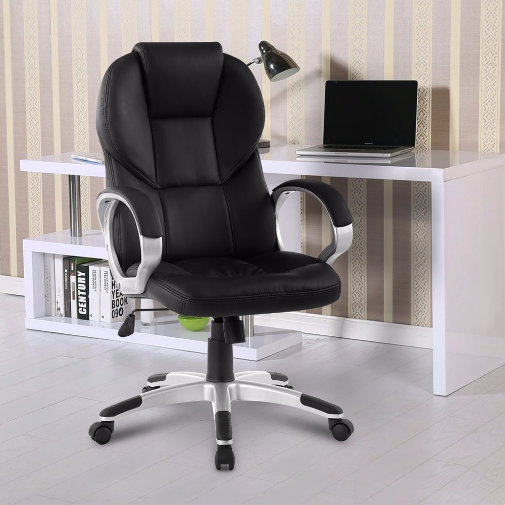 modern ergonomic highback faux leather executive office chair with with knee tilt mechanism and 360 degree swivel