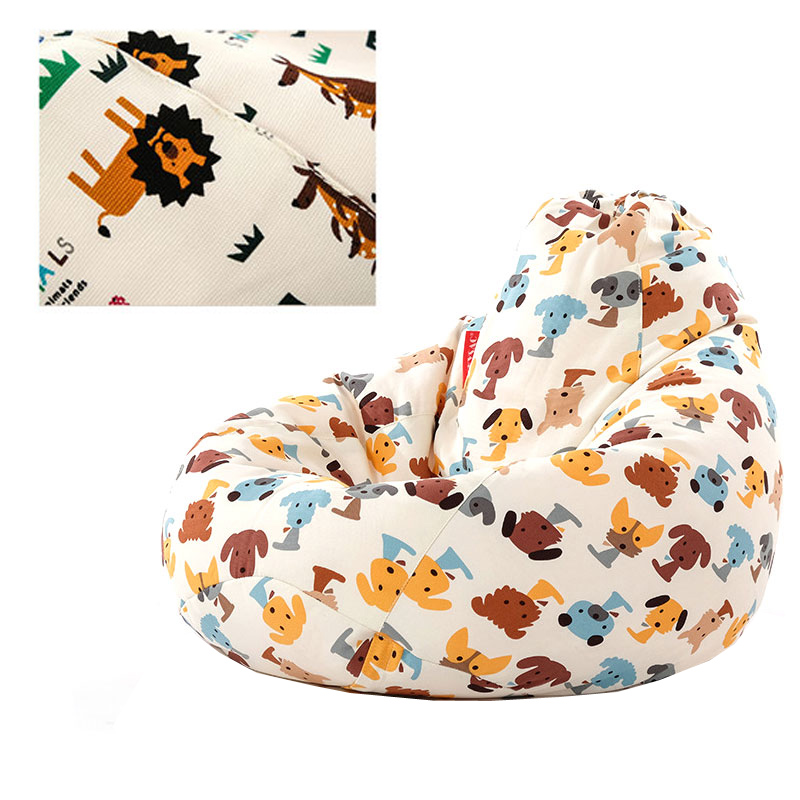 Small Cute Animal Bean Bag Lounger Sofa Cover Chairs Without Filler For Kids Indoor Couch Cover for Living Room