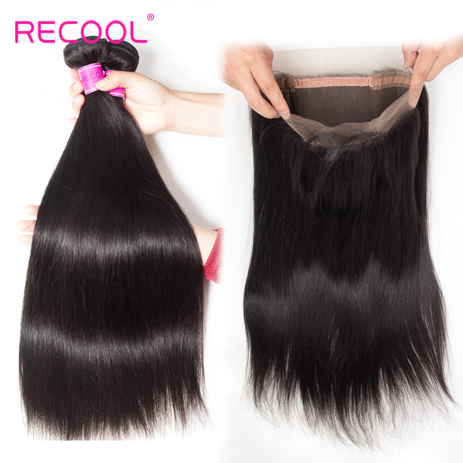 Recool Brazilian Straight Hair 360 Lace Frontal Closure With Bundles Natural Color Remy Hair 3 Bundles
