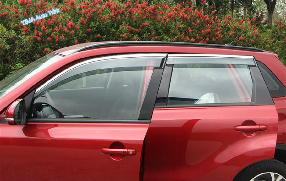 Lapetus Window Visors Awnings Wind Rain Deflector Guard Cover Trim 4 Pcs Fit For Suzuki Vitara Escudo 2015 - 2019 Protection Kit
