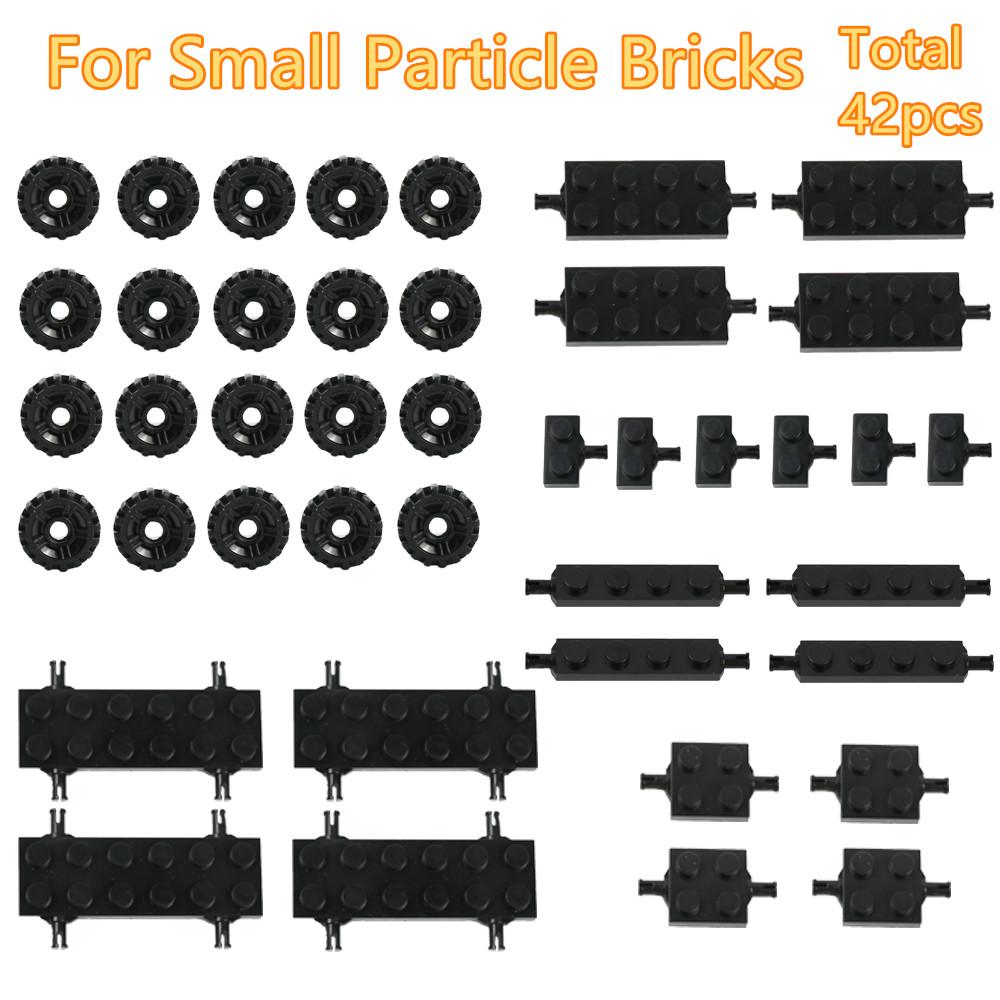 42PIECES Mini Wheel Axles Pack Car Tires 5 Models Building Blocks Accessories Enlighten Toys For Kids Assemble Small Build Parts