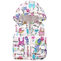 Новые осенне-зимние жилеты для девочек детский хлопковый теплый жилет с капюшоном для маленьких девочек, жилет с принтом для мальчиков и де...