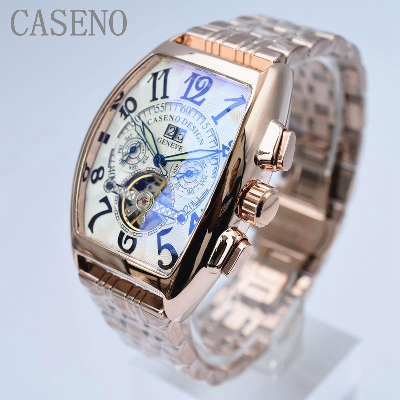 CASENO Top Merk Luxe Tourbillon Skeleton Automatische Mechanische Horloges Mens Polshorloge Militaire rvs Mannelijke Klokken-in Mechanische Horloges van Horloges op  Groep 1