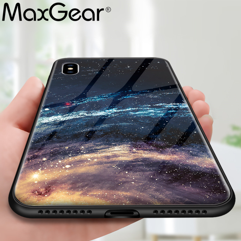 MaxGear Star Space Tempered Glass Case For Iphone X 8 7 Plus 6 6S Soft Edge Skin Cover Glass Slim Capa for iPhone6S XR XS Max essager ultra magnetic adsorption phone case for iphone xs max xr x 10 8 7 6 6s s r plus coque luxury magnet glass cover fundas