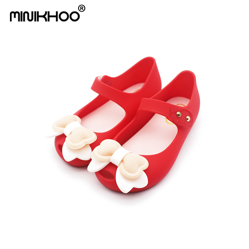 Mini Melissa 2018 New Princess Shoes Bow Girl Jelly Shoes Children Comfortable Fish Head Sandals 14-16.5cm Mini Melissa Shoes