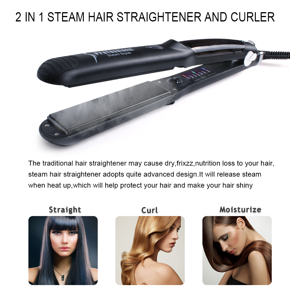 2018 Professional hair straightener iron 2 in 1 hair styling tools for long hair straightening ingredients flat iron ceramic z050 2 in 1 hair straightener curling styling tools kemei professional ceramic flat irons pranchas de cabelo straightening iron