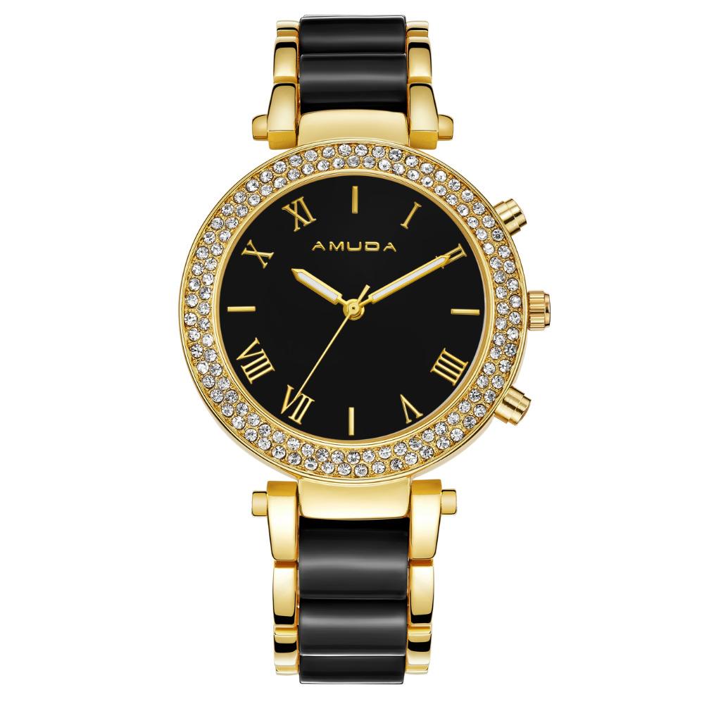 Prix pour Mode Femmes Casual Montres Dames Montre-Bracelet Or Bracelet Simulé En Céramique Robe Diamant Quartz-montre relogio feminino