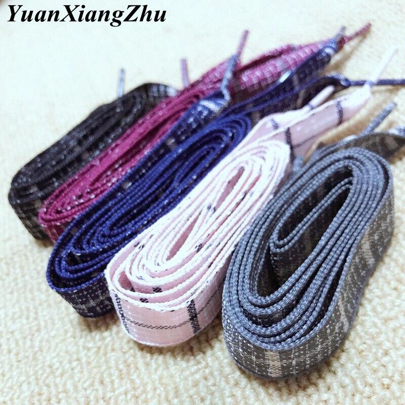 New Shoelaces Length 60/80/100CM Width 1.6CM British Style Plaid Shoelace Cotton And Linen Sneaker Sports Casuals Shoe Laces