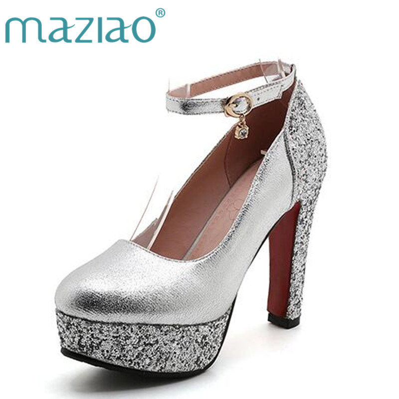 MAZIAO Fashion high-heeled shoes thick heel platform paillette gold silver wedding shoes bridal dress shoes formal shoes 2018 kids clothes autumn spring boy casual plaid pants elastic waist school children full length trousers fashion big boys pants