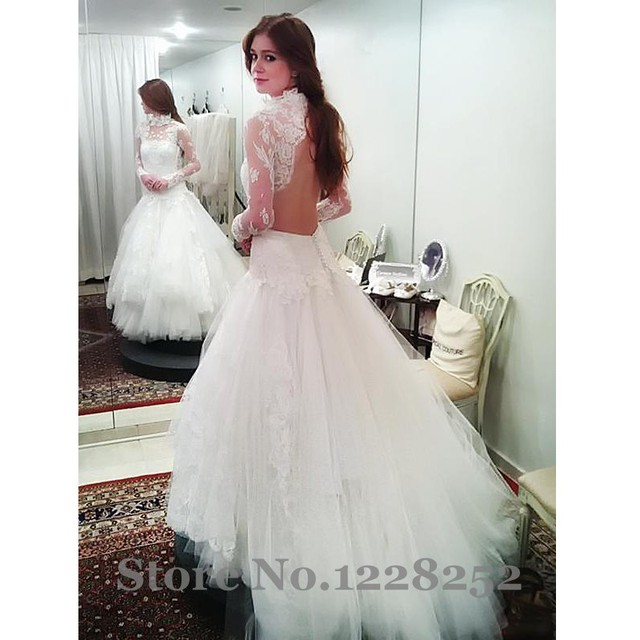 Elegant High Neck Wedding Dresses with Long Sleeve Appliqued Lace ...