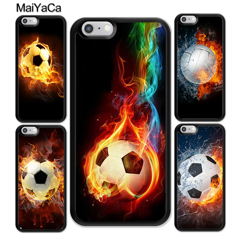 MaiYaCa Fire Football Soccer Ball Pattern Soft Rubber Phone Cases For iPhone 6 6S Plus 7 7 Plus 8 X 5S SE Cover Bags Skin Shell