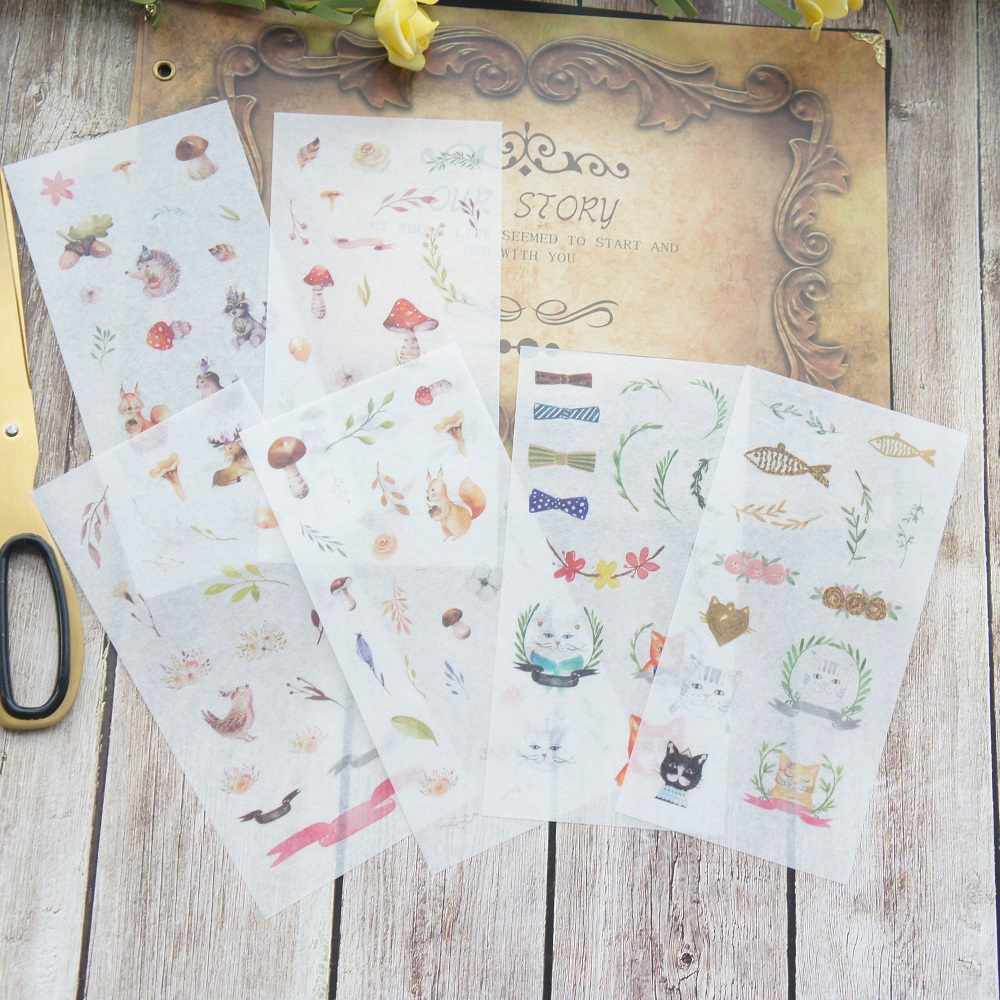 6 sheets going to Forest Party washi Paper sticker as Scrapbooking DIY gift packing Label Decoration Tag party