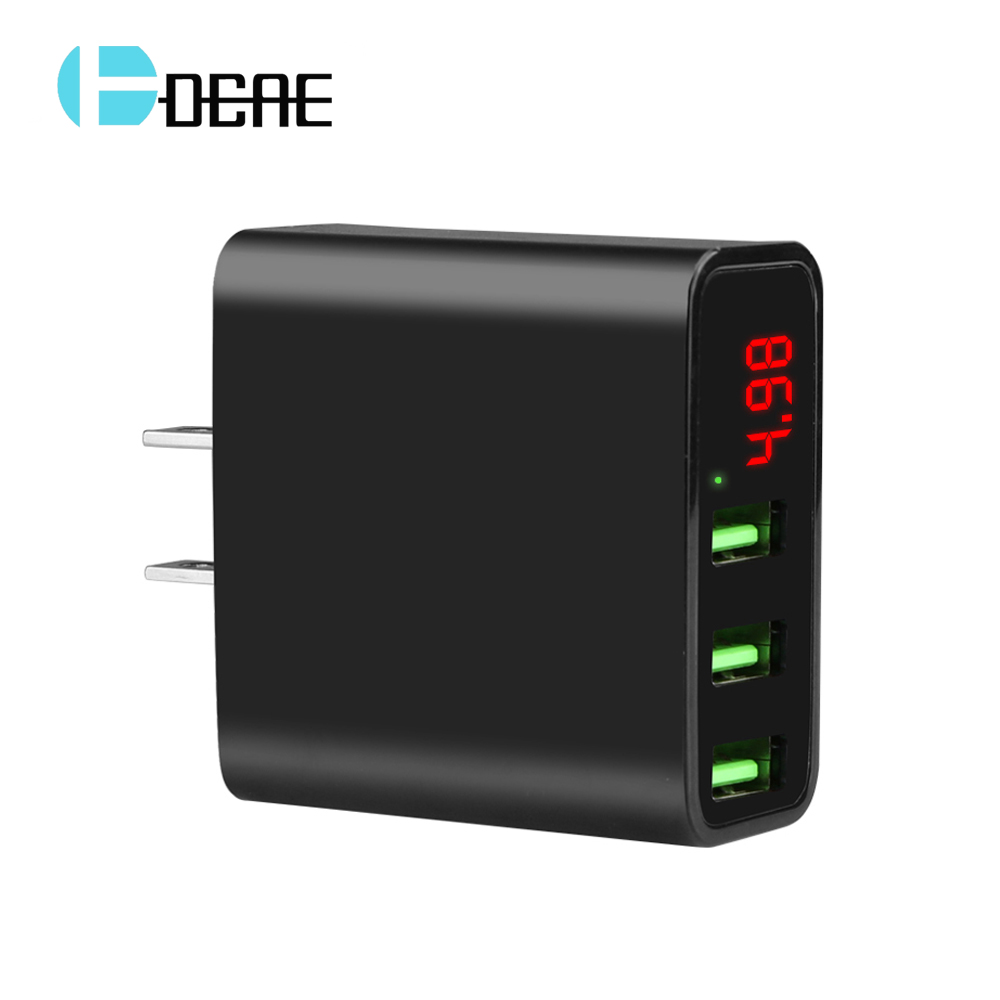 DCAE 3 Port USB Phone Charger LED Display EU US Plug The Max 2.4A Smart Fast Charging Mobile Wall Charger for iPhone iPad Xiaomi