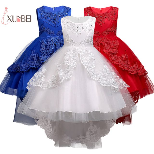 petites filles Princess Red White Lace Flower Girl Dresses 2019 High- Low Organza Girls Pageant Dresses First Communion Dresses
