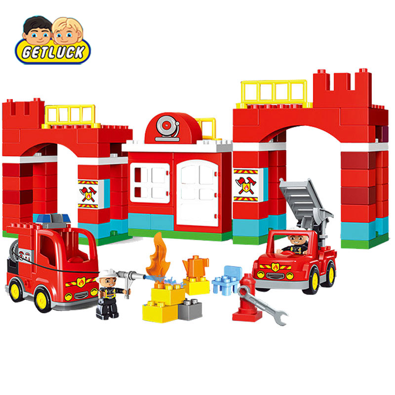 GETLUCK 1009 Big Blocks City Fire Department Firemen Building Blocks Det Kids DIY Bricks Toys Compatible