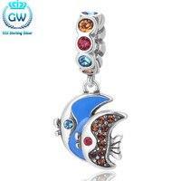 Gw biżuterii mody 925 srebro enamel koraliki urok s376-40 seafish para wisiorek fit wąż łańcuch biżuteria ze srebra próby 925