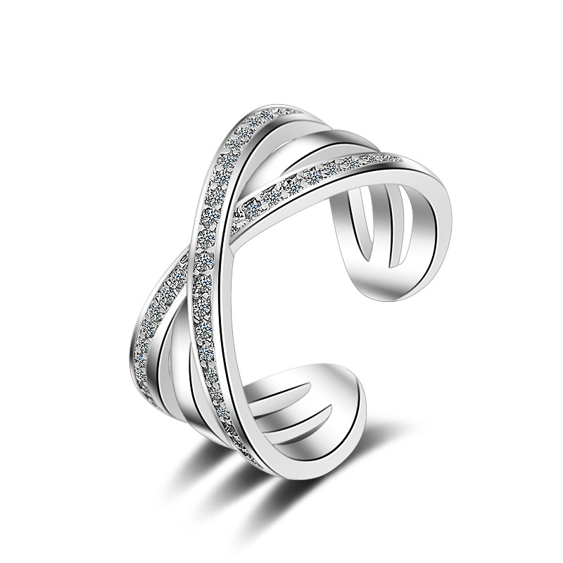 LUKENI Fashion 925 Sterling Silver Rings For Women Party Jewelry Charm Crystal Cross Girl Finger Rings Accessories Adjustable