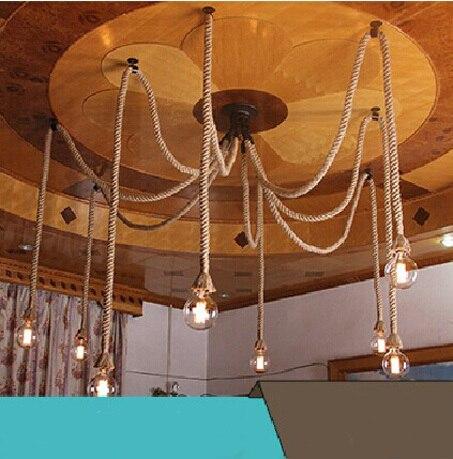 10 E27 Corde Droplight Led Vintage Net Araignée Lustres Salle à Manger Plafond Pendentif Créatif Bar Lampe Bricolage Café Fée Lumières AgréAble Au Palais