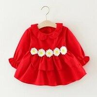 Осень хлопка праздничное платье принцессы с длинным рукавом Питер Пэн воротник Подсолнечник Симпатичные Платья для маленьких девочек Vestidos