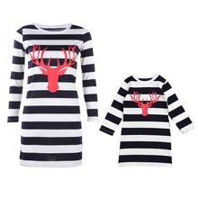Mom Daughter Dress Casual Stripe Family Matching Clothing Dresses Mother Baby Long Sleeve Spring Autumn Clothes