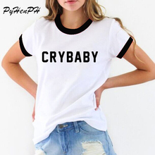 PyHen Women Cry Baby T-Shirt Funny Teenager Student Shirt Female Girl T Shirt Tshirt women Novelty O-neck tops blusas