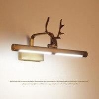 American Style Loft Art Deer Head Bathroom Led Mirror Lamp Waterproof Retro Bronze Hotel Bedside Led Wall Lights Free Shipping