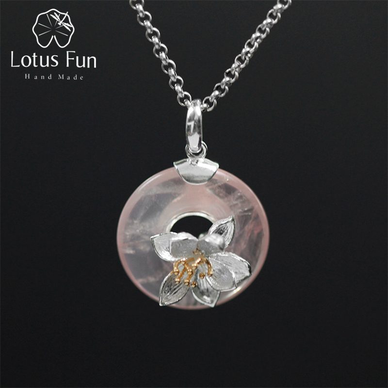 купить Lotus Fun Real 925 Sterling Silver Natural Pink Stone Handmade Design Fine Jewelry Lotus Whispers Pendant without Necklace по цене 2706.3 рублей