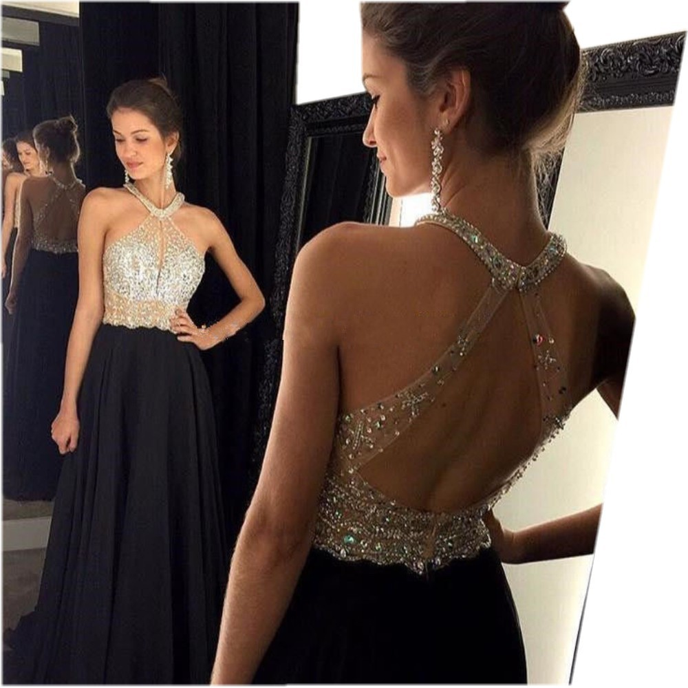 Sexy A-Line Black   Prom     Dress   2016 Long Halter Beaded Backless vestidos de fiesta Formal Evening Gown Party Pageant   Dresses