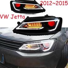 2 pcs ปรับไฟหน้ารถยนต์สำหรับ JettaMK6 ไฟหน้า sagitar 2012 2013 2014 2015 LED DRL ไฟวิ่ง Bi   Xenon หมอกคานไฟ
