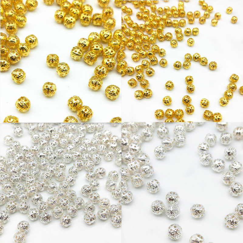 4/6/8mm 200/100/50pcs/lot Sale Gold Silver Plated Alloy Fine Space Loose Hollow Beads Charms For DIY Bracelets Necklaces Jewelry