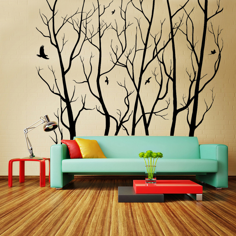 Livraison gratuite Sticker mural bricolage grand mur Art décor vinyle arbre forêt autocollant arbre mur autocollant mural Art mural décoration